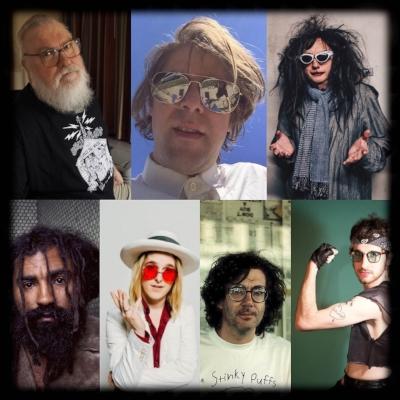 L-R, clockwise: R. Stevie Moore, Ariel Pink, Gary WIlson, Wyatt Blair, Jad Fair, Diane Coffee, Gonjasufi