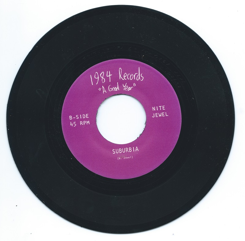 "Weirdo Music Forever's copy of Nite Jewel's ""Weak for Me/Suburbia"" 45 (1984 Records)"