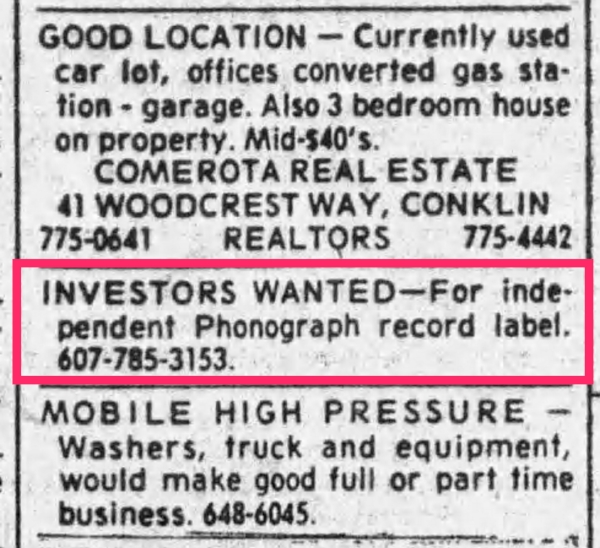Gary Wilson placed this ad on several occasions in Binghamton New York's Press and Sun-Bulletin in April of 1975.