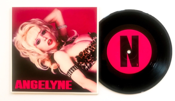 "Our copy of Angelyne's new ""Heart"" 45. Each letter of Angelyne's name is featured in different copies, and our copy is an ""N"" pressing. Photo: WMF"