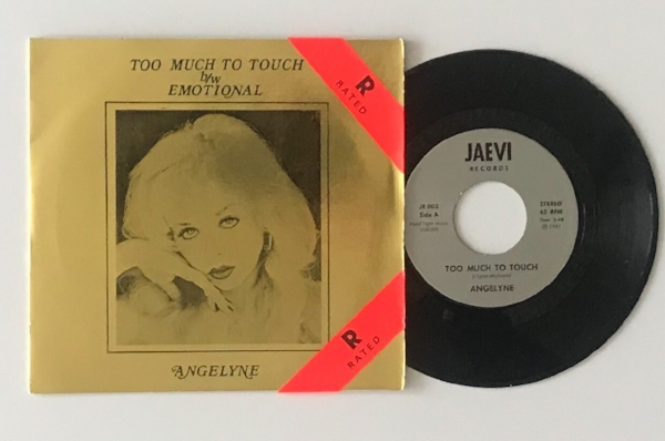 "Our copy of Angelyne's 1981 ""Too Much to Touch/Emotional"" 45. Photo: WMF"