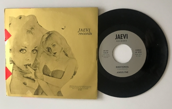"Weirdo Music Forever's copy of Angelyne's rare 1981 seven-inch, containing ""Too Much to Touch"" and ""Emotional"""