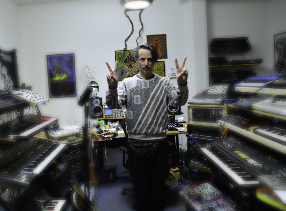 Eddie Ruscha in his Los Angeles art and music studio. Photo: Cameron Murray