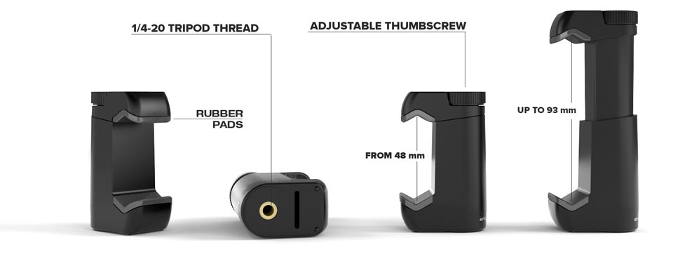 Shoulderpod is adaptable to most devices on the market