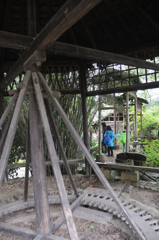Cool discovery - we came upon an even smaller town with an abandoned 'tourist stop'.  It was obviously neglected and no longer a destination.  There was garbage and overgrown weeds everywhere but we were able to understand because there were English signs and explanations on all the farming equipment!  For example, this was one of the earliest invented manual waterwheels in the Huizhou region used for irrigation and for grinding seeds into oil.