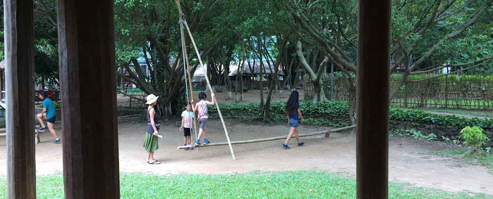 Alvin did take this pic of us trying out play structures made of bamboo.