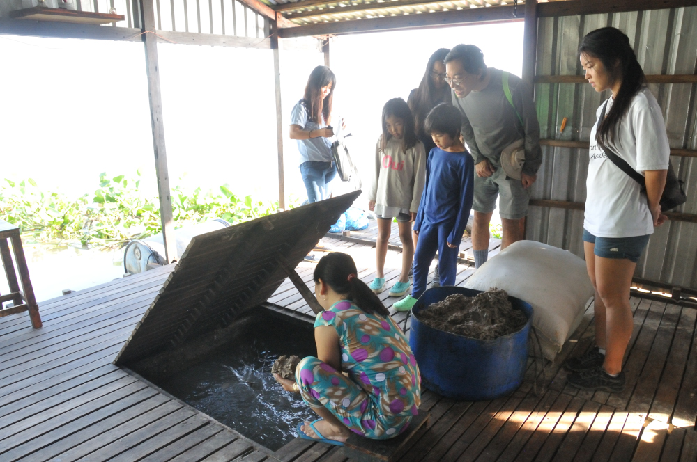 We also had a quick stop at a fish farm during feeding time -chunky grey gruel.
