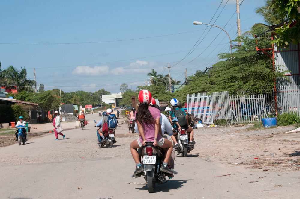 The funnest way to cross a border yet! Here we are approaching Cambodia's checkpoint.