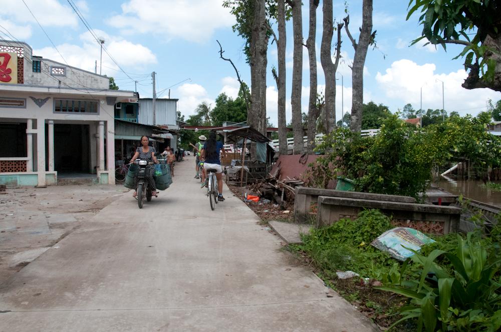 Biking around the island.