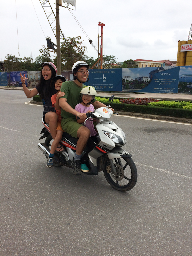One morning, we needed to get to town.  Since there wasn't enough bicycles, we opted to try the motorbikes.  This is Alvin!  Me?  Not so good.  i fell twice.  I bicycled instead.  Emma and Myka took turns biking and riding.  What a highlight to the day!