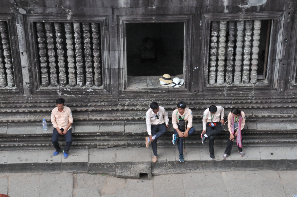 The tour guides waiting below for the visitors that climb up to the main tower.