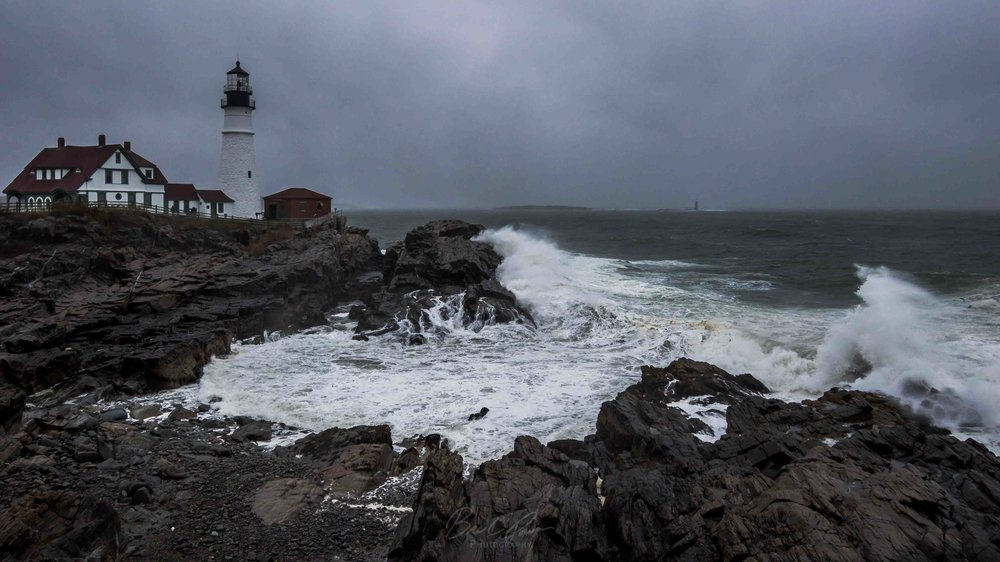 Storm Surge Creating Waves at Portland Head Light, Cape Elizabeth, Maine