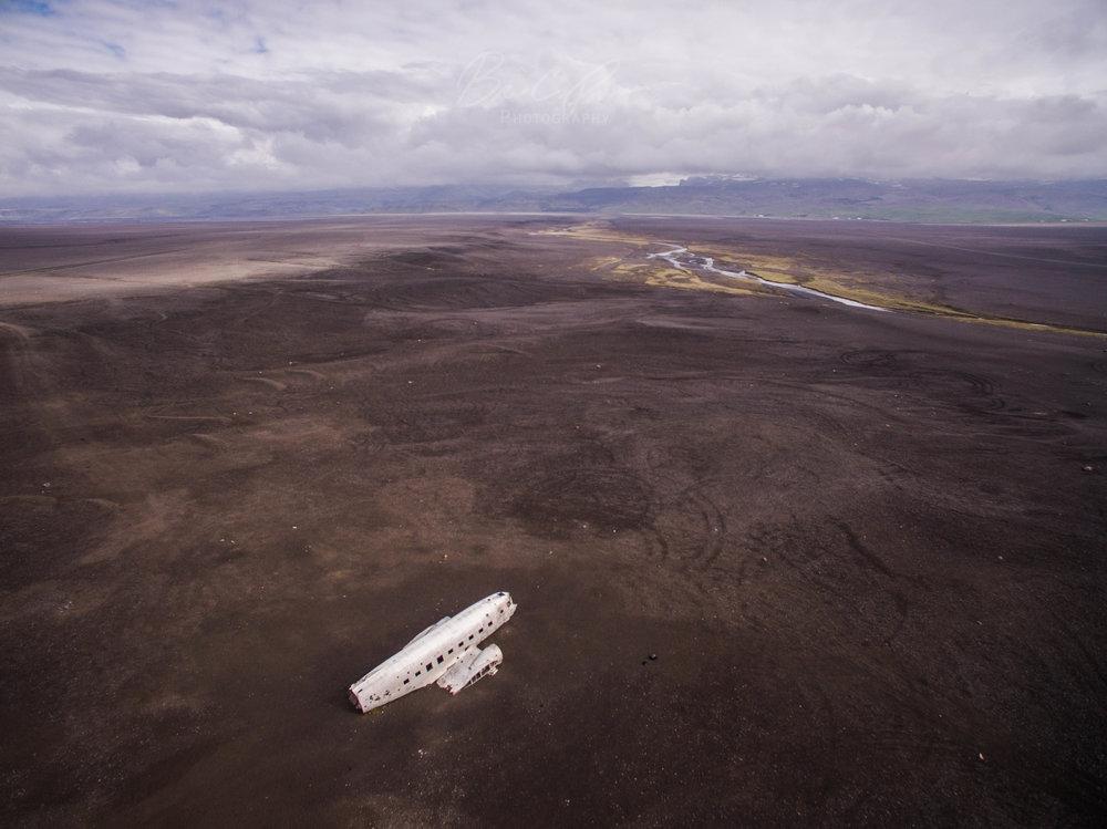 Sólheimasandur plane wreck aerial