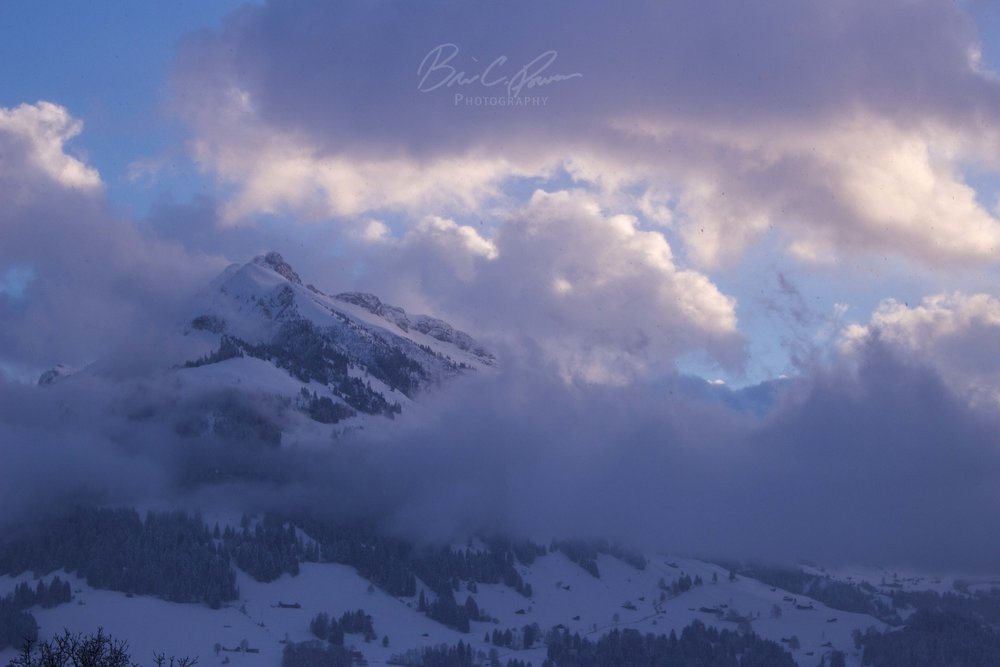 Winter Sunset in Frutigen, Switzerland