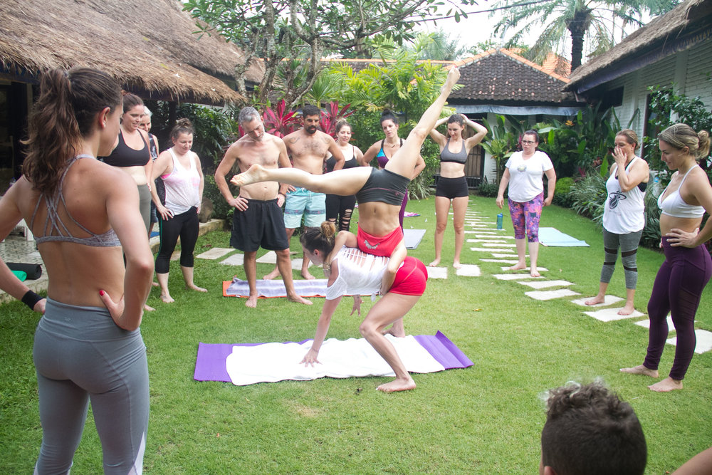 First Acro Yoga at Eat Play Bali retreat