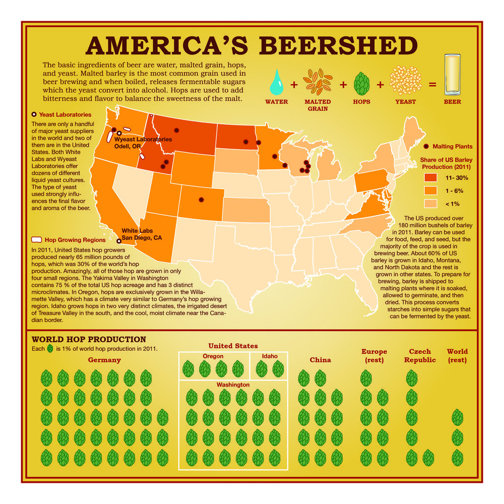 "This map, sourced from The Atlantic, helpfully visualizes from where the ingredients in your ""local"" beer hail."