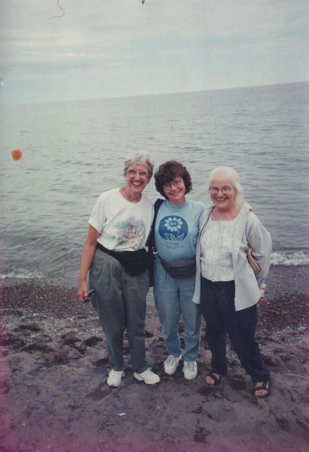 Three friends. Sister Rita Mary Olszewski in center.