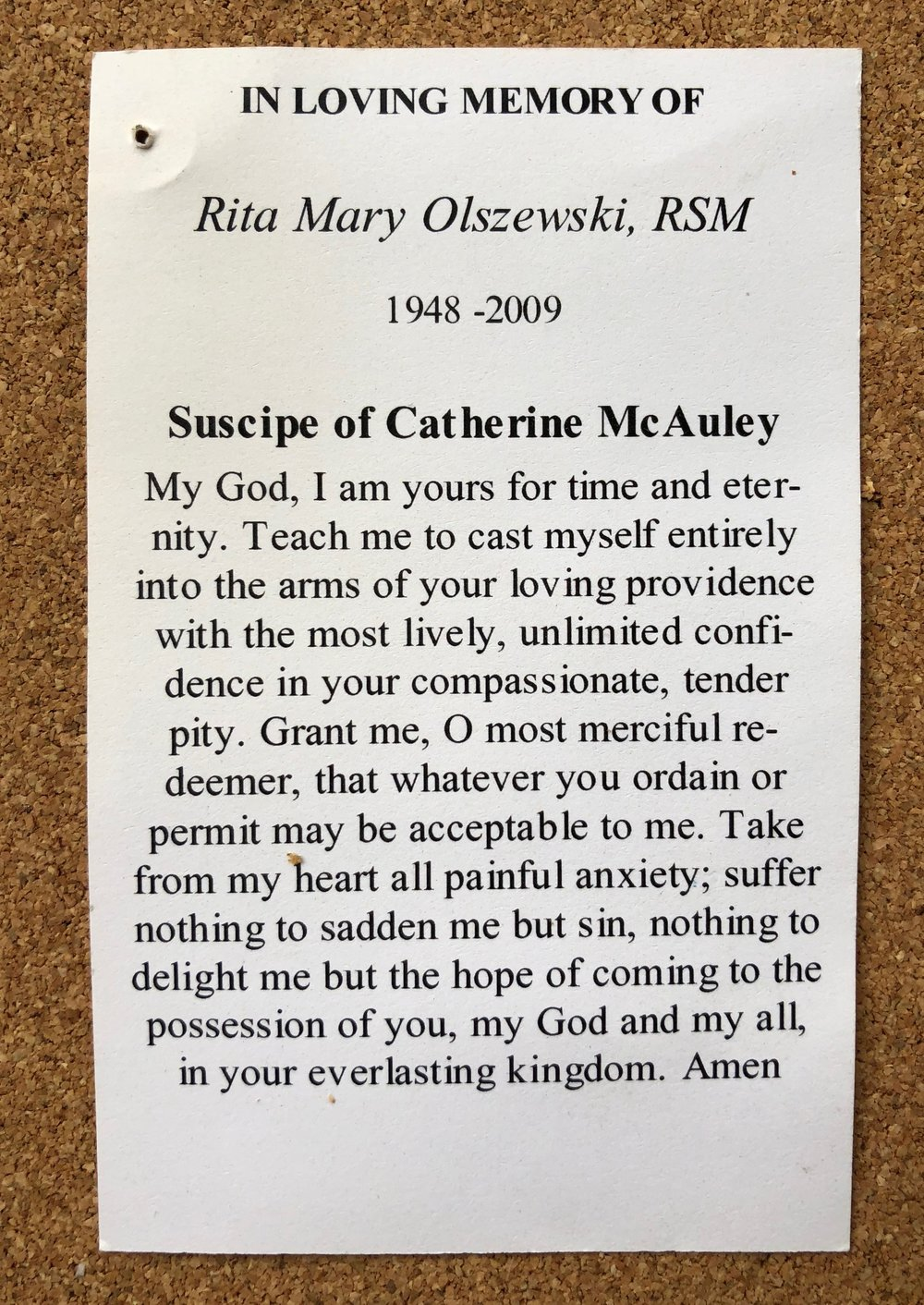 Card from Sister Rita Mary Olszewski's funeral.