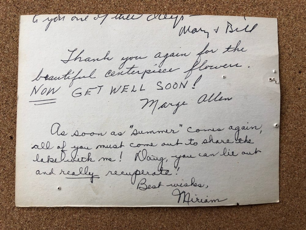 The reverse side has get-well wishes for Doug from Marge Allen and Miriam.