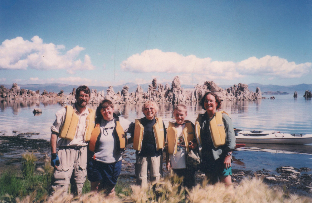 Mono Lake, 2003. Tom, Jodi, Pat, and Jamie Lent, and Martha Crusius