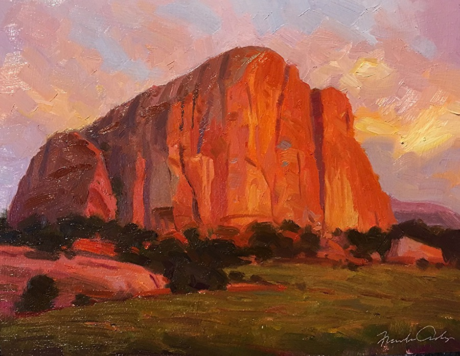 "'Pillar of Fire, Navajo Nation'- oil on panel, 8"" x 10"""