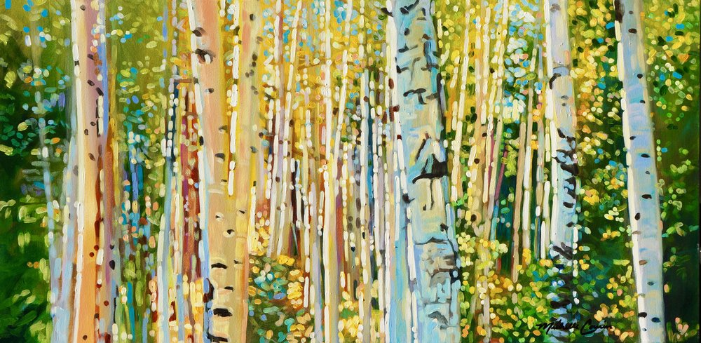 SUMMER ASPENS 24X48 ACRYLIC $4600 SOLD  GICLEE PRINTS AVAILABLE IN VARIES SIZES ON PAPER/CANVAS