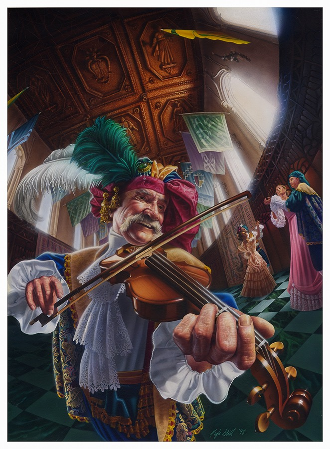 """ THE FIDDLER "" 22X30.5 Acrylic on masonite (frame not shown)"
