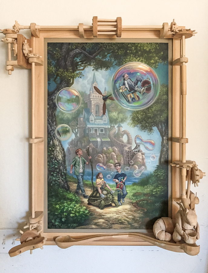""" JACKSON HILL "" 24x36 Acrylic on board with articulating hand carved wood frame."
