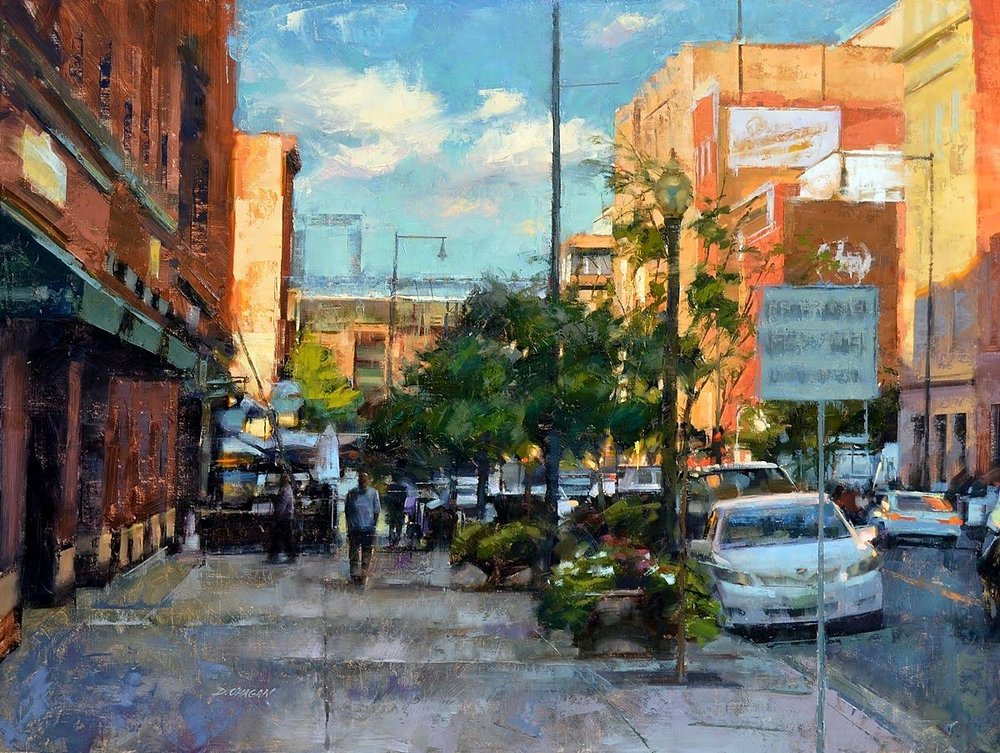 SUNLIT, WAZEE STREET, DENVER OIL ON CANVAS 36X48 IN $1200