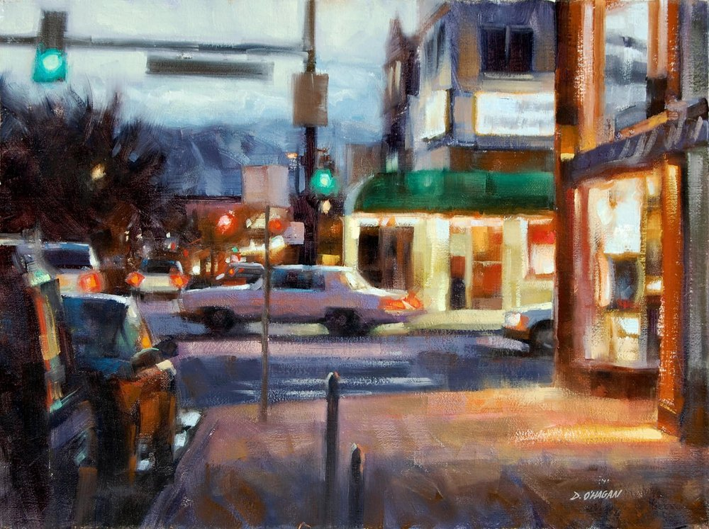 UNIVERSITY AND EVANS, DENVER OIL ON CANVAS 18X24 IN $4400