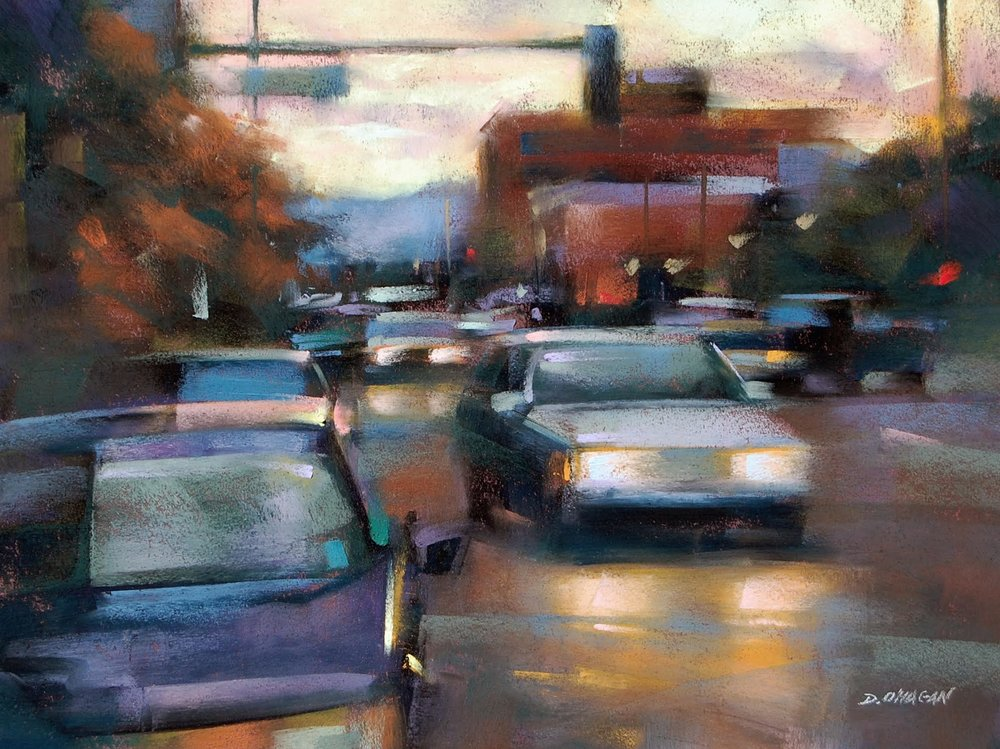 THE CITY AT DUSK, OIL ON CANVAS 12X16 IN $2400