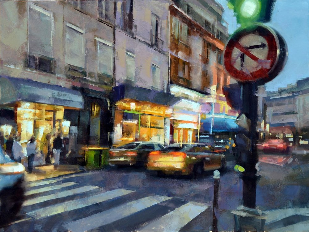 EARLY EVENING, CENTRAL PARIS, OIL ON CANVAS 30X40 IN $10000