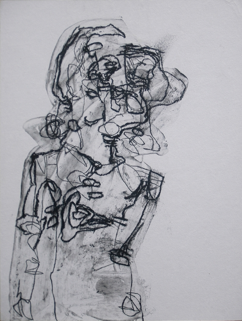 """"""" PACHELBEL """" 10.25x13.5 Charcoal and acrylic on paper (frame not shown)"""