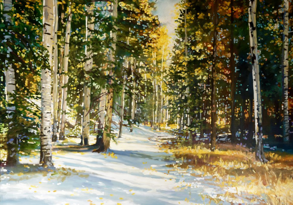 WINTER WALK 48x60 IN ACRYLIC ON CANVAS $8,700  PRINTS AVAILABLE IN VARIES SIZES ON PAPER/CANVAS