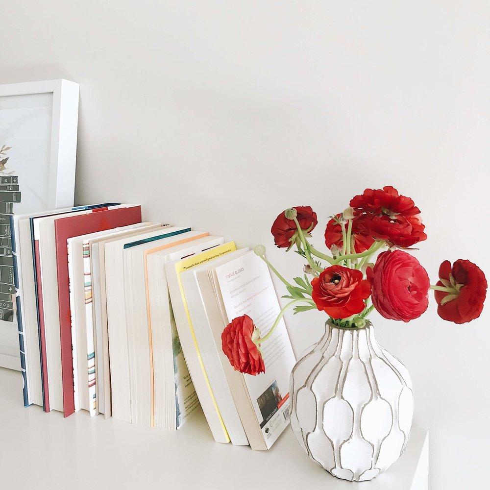 books and flower home interiors Michelle Martin Bookstagram.jpg