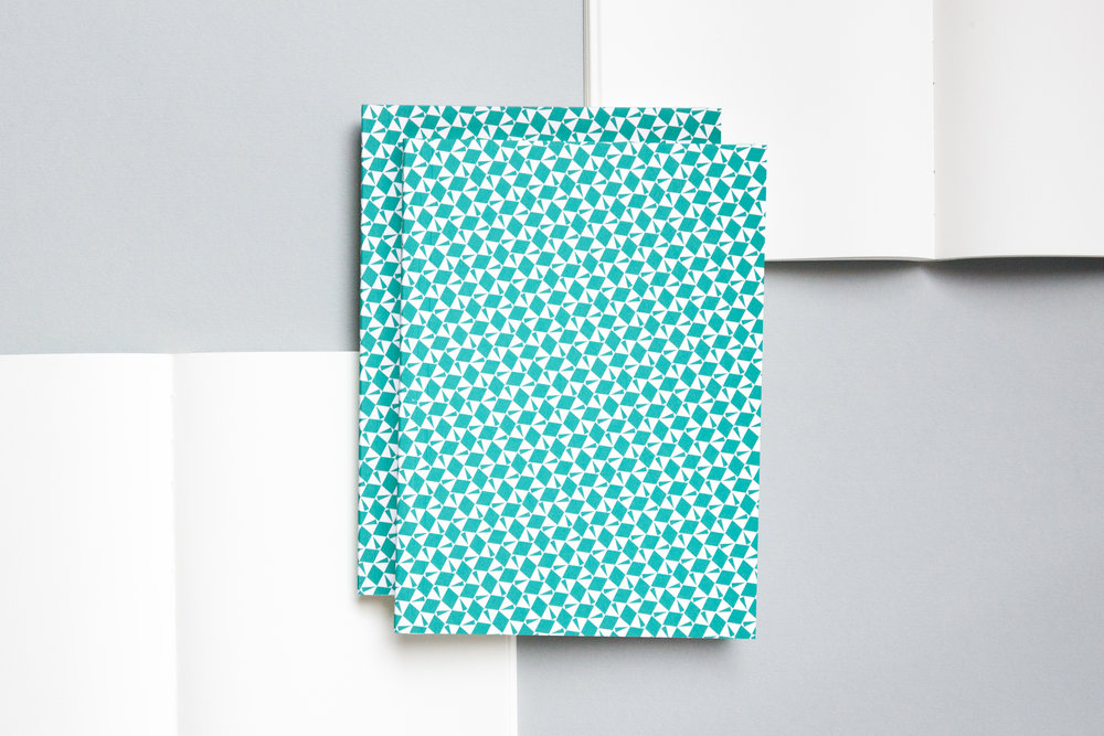 A5013M - Layflat Notebook, Victor Print in Turquoise and Plain, ola.jpg