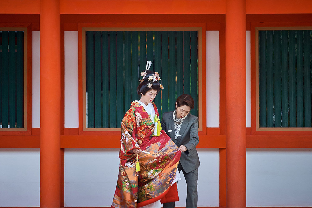 Bride and Attendant, Kyoto, Japan