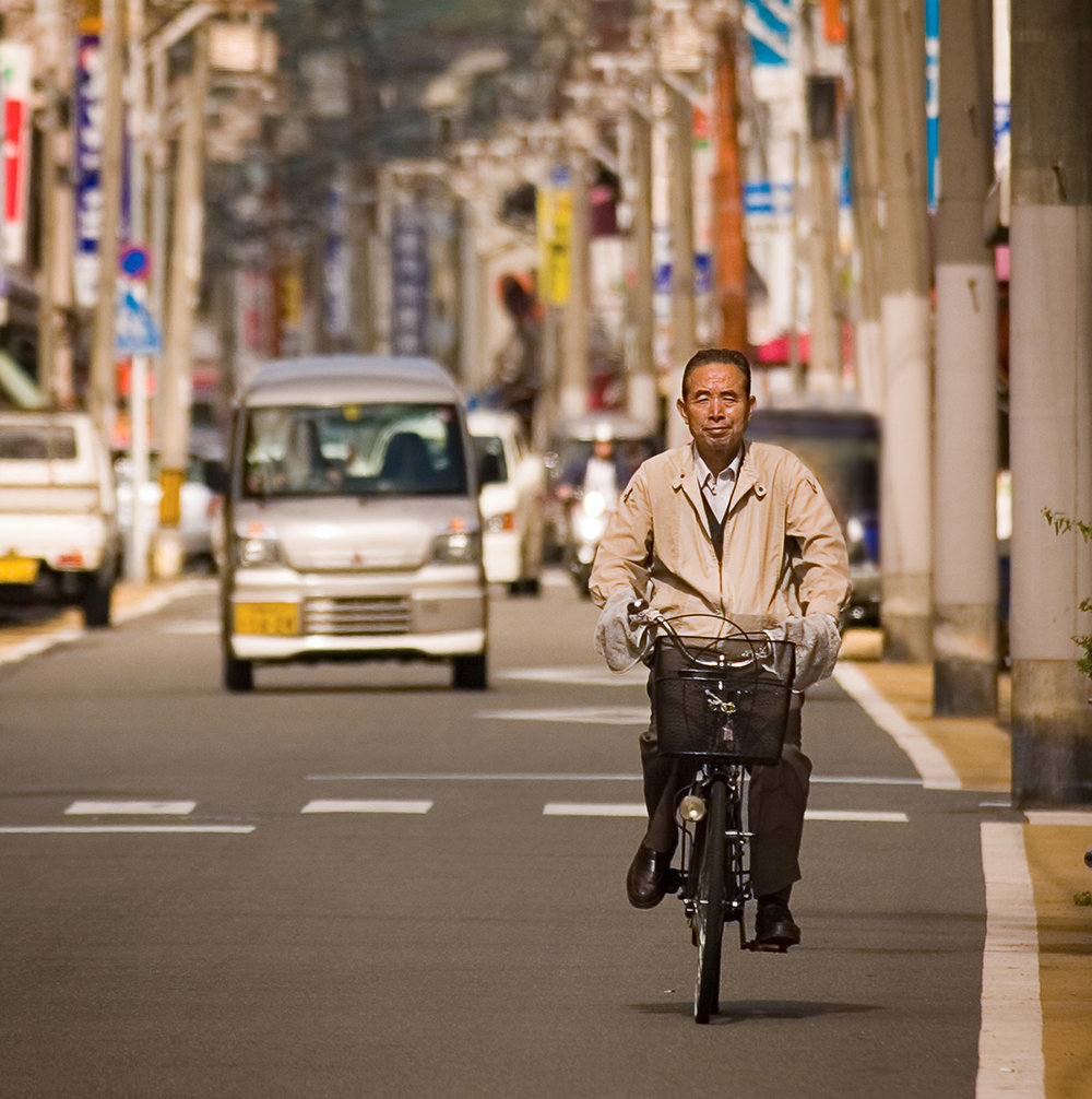 Bicyclist, Kyoto, Japan