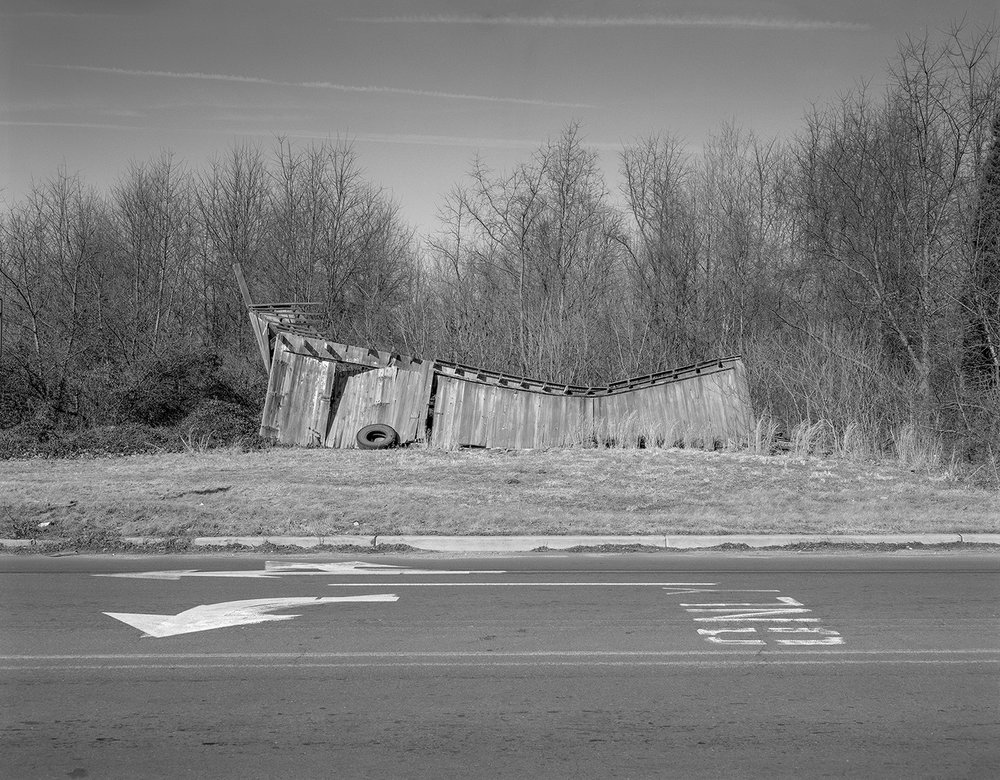 Street Arrows, Dilapidated Shack and Tire, Plainsboro, New Jersey