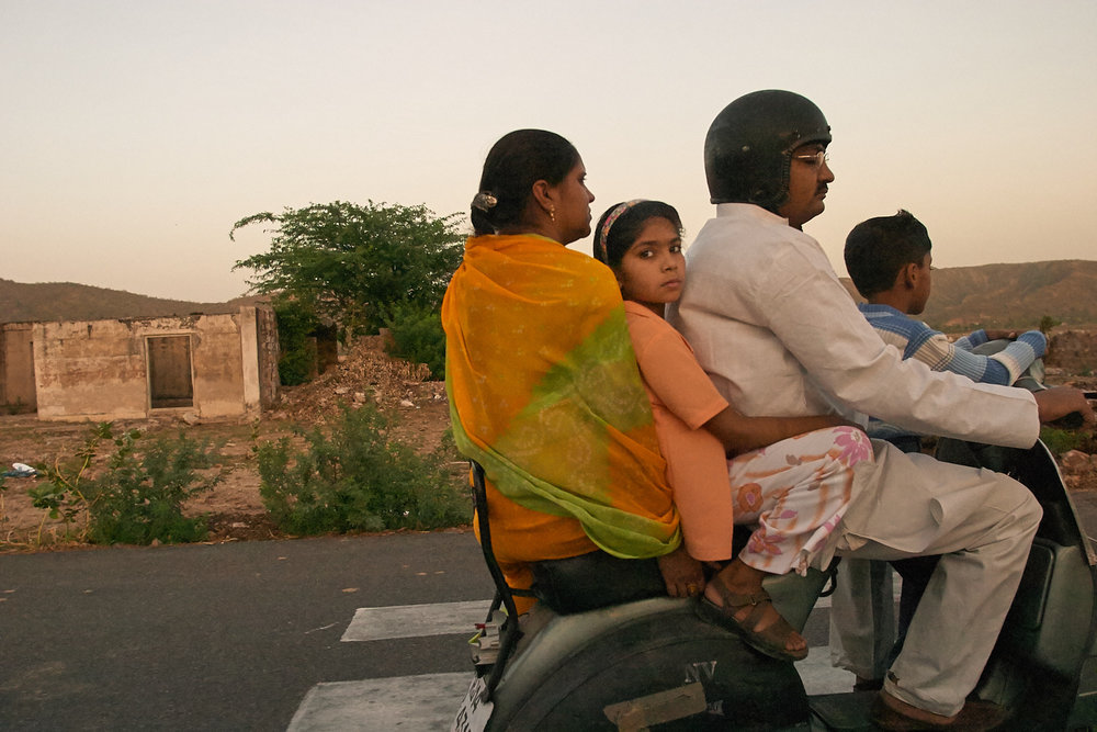 Family On Motor Bike, Jaipur, India