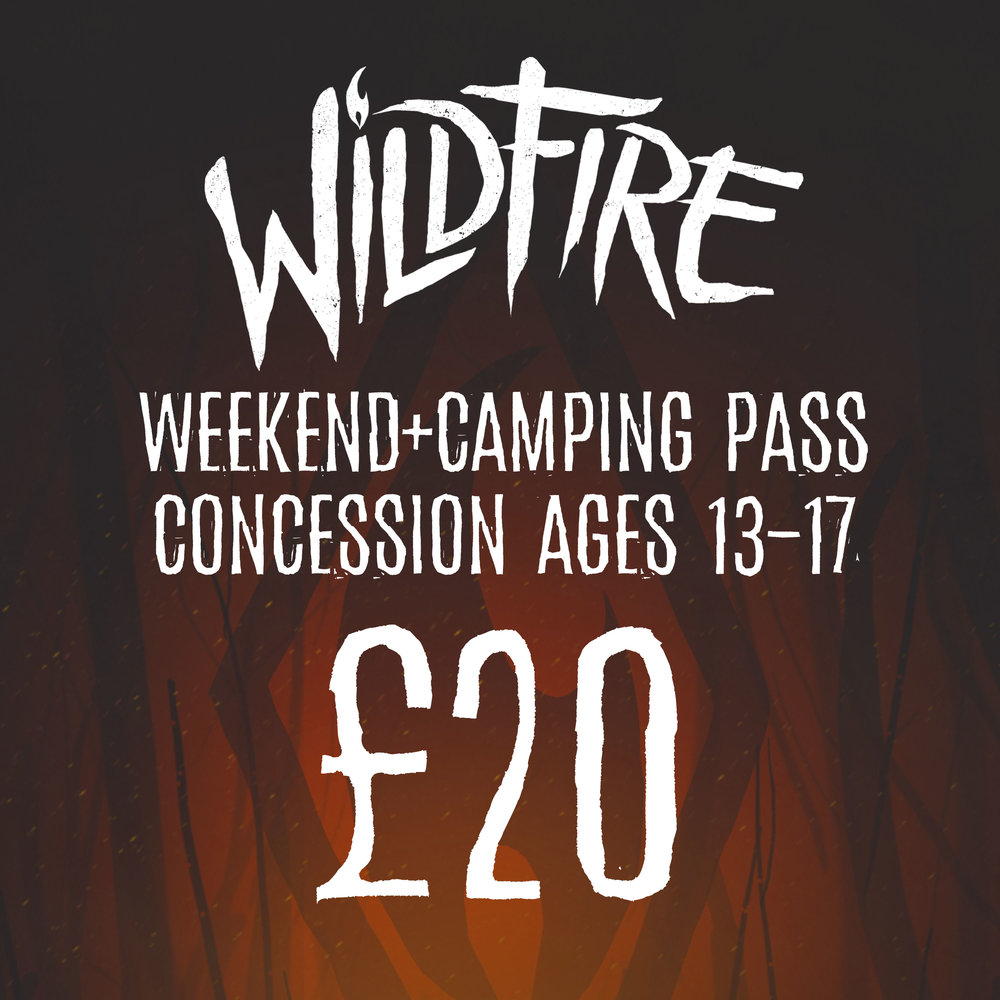 WEEKEND + CAMPING PASS (AGES 13-17) £20.00