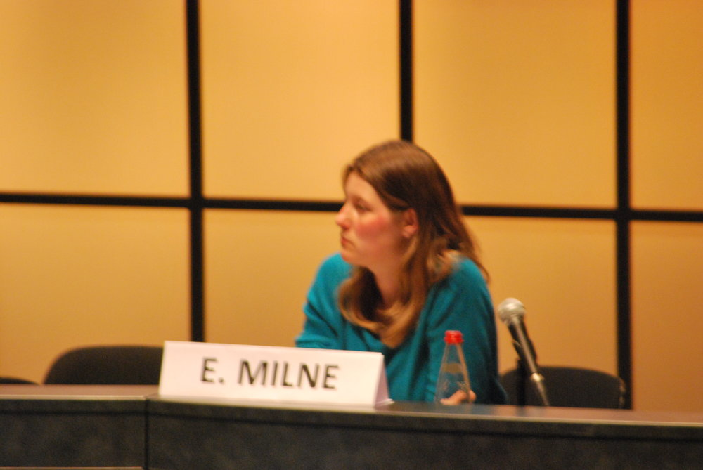 Dr Milne taking questions during a conference in Tours, May, 2012.