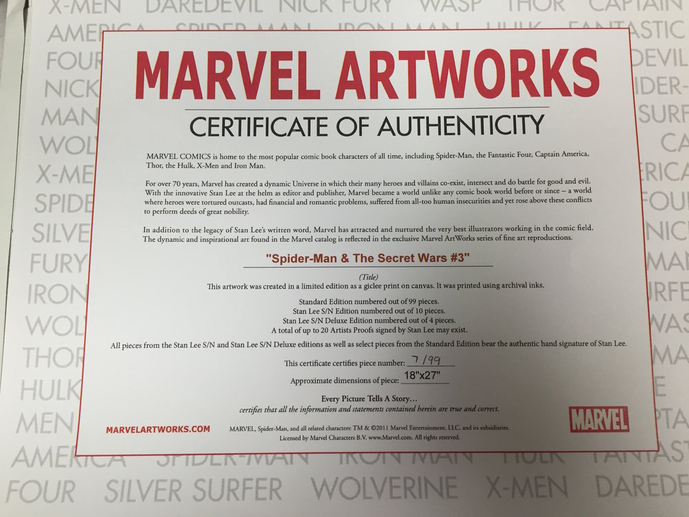 "COA for Marvel Art Print - ""Spiderman & The Secret Wars #3"""