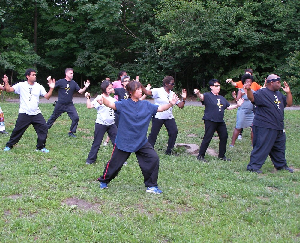 Sifu Tzyann and members of Qi Tao demonstrate Tai Chi at the Brooklyn Roots Festival 2018
