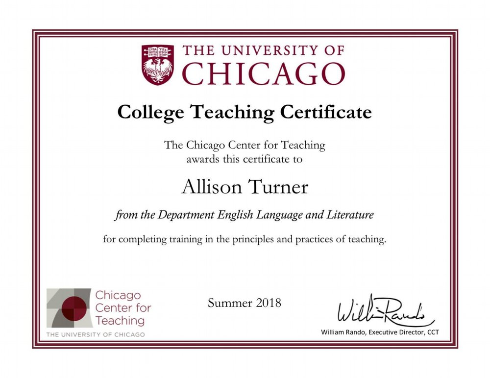 Teaching Certificate Allison Turner