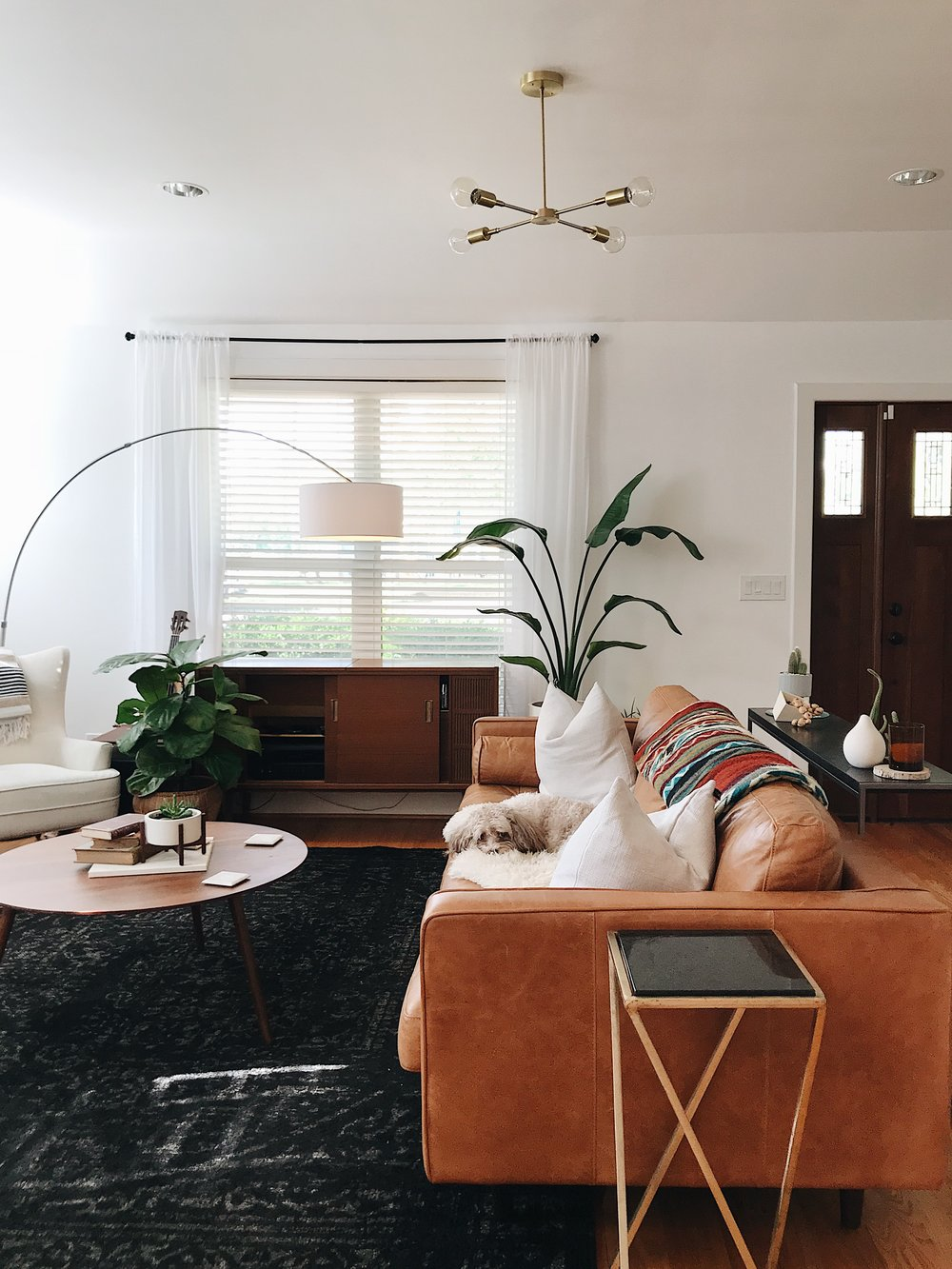 Odyssey Chandelier from Schoolhouse , Sven Sofa and coffee table by  Article , Rug from  RugsUSA , blanket by  Ecuadane , and planters by  Modernica .