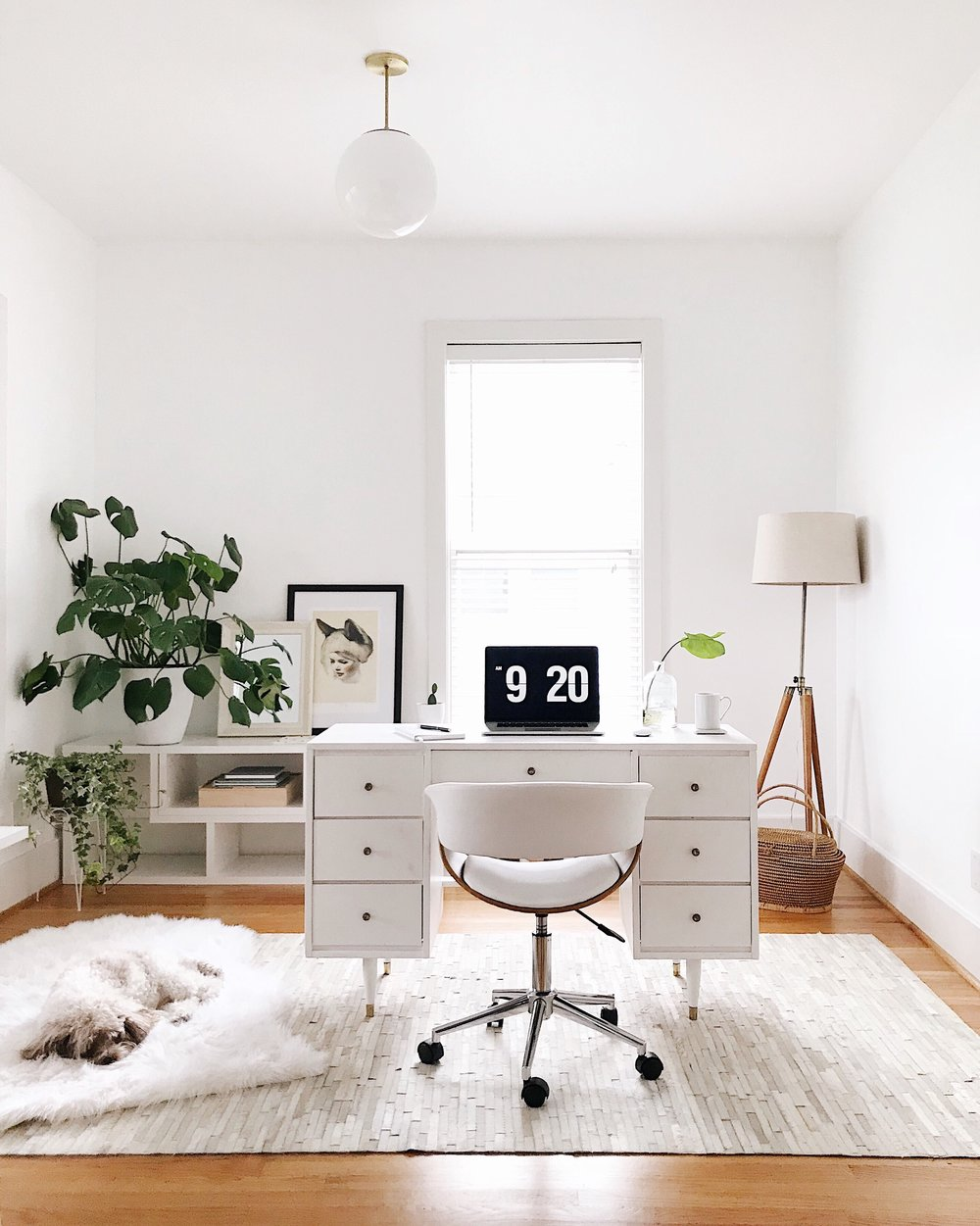 Vintage Desk,  Luna Pendant from Schoolhouse Electric  and rug from  RugsUSA .