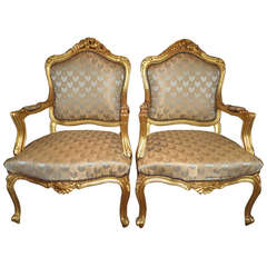 Pair of French Gilt Fauteils