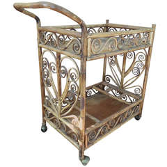 Vintage Bamboo Tea Cart