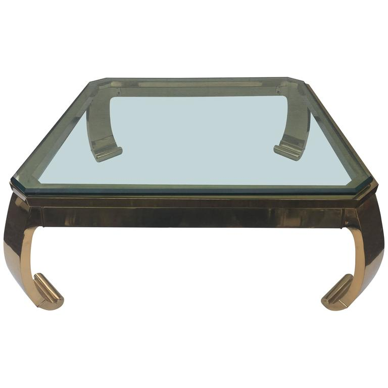 Nice Asian Inspired Brass And Glass Coffee Table By Karl Springer